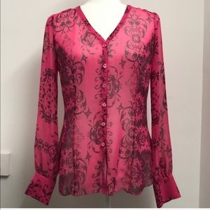 Cabi Pink Sheer Baroque Print Blouse Size Small
